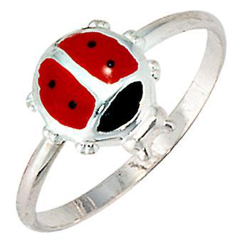 Kinder Ring Marienkäfer 925 Sterling Silber Lackeinlage rot schwarz Kinderring  Größe:48