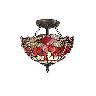 Luminosa Beleuchtung - 2 Licht Semi Flush Decke E27 mit 30cm Tiffany Schatten, lila, rosa, Kristall, alteralter antiker Messing