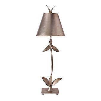 1 Lampe de table légère Silver Floral Leaves Design, E27