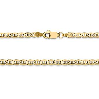 14K Yellow Gold 3mm Concave Anchor Chain Anklet -- 9 Inches
