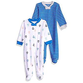 Essentials Baby Boys Cotton Footed Zip-Front Sleep and Play