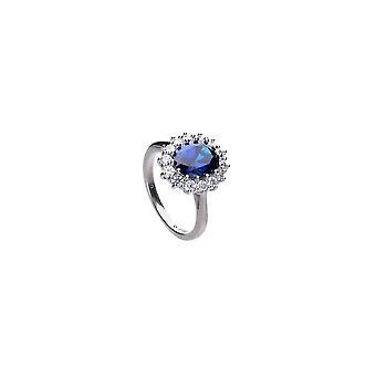 Diamonfire Cubic Zirconia Blue Round Ring R3663