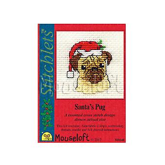 Pug - Stitchlets Small Christmas Counted Cross Stitch Card Making Kit