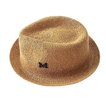 Summer Children Hat Letter M Straw Cap For Boys Panama Hat Children Sun Cap Roll Up Baby Hats Caps