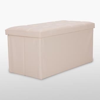 Leather Tufted Ottoman With Buttons - Cream - Medium