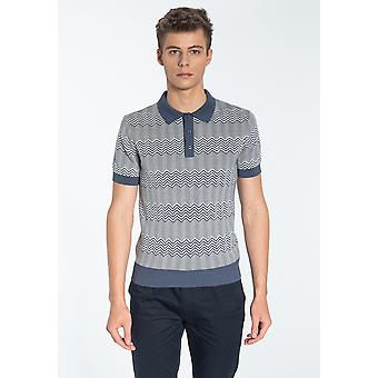 Merc BENNARD, Men's Cheveron Knitted Polo Shirt