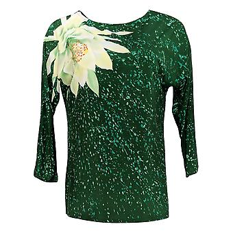 Bob Mackie naiset ' s Top vesi Lily Splash Print neulottu vihreä A347432