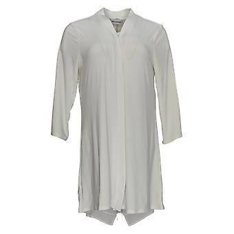 Nina Leonard Women's Sweater Cardigan W/ Zipper & Chiffon White 703-537
