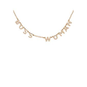 Boss Woman Choker Necklace Rose Gold Feminist Word Letters Gemstone 925 Sparkle