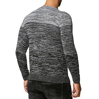 Herren Pullover Langarm Sweat Shirt Pullover Sweatshirt meliert gestrickt