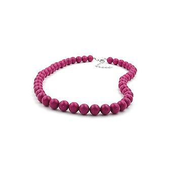 Halskette mit lila Perlen 10mm 45cm