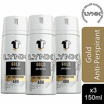 3 Pack Lynx 48H Protección Anti-Perspirant Body Spray, Gold Temptation, 150ml