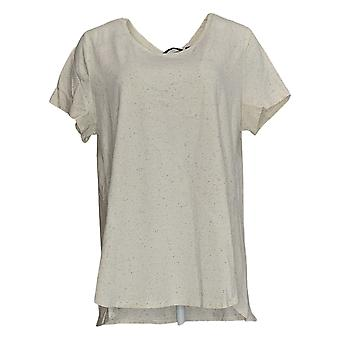 H by Halston Women's Top Donegal Knit Scoop-Neck Ivory A308597