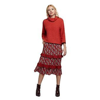 Louche Womens Mackenzie Paisley Tiered Midi Skirt Red