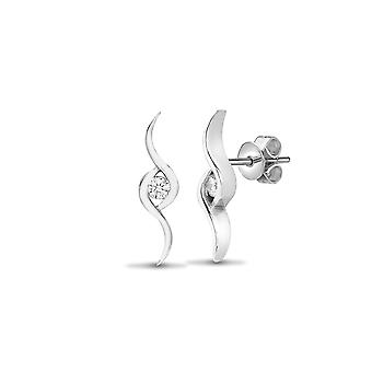 Jewelco London Ladies Solid 18ct White Gold Rub Over Set Round G SI1 0.12ct Diamond Solitaire Twist Drop Earrings