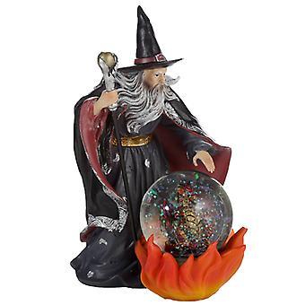 Spirit of the Sorcerer - Fire Dragon Wizard Snow Globe Waterball