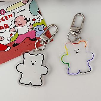 קריקטורה חמוד שקוף גומי דוב Pvc מחזיק מפתחות טבעת מפתח