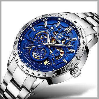 TEVISE T858 Zegarek 3D Zegarek Design Men Zegarek na rękę Świetlisty wyświetlacz Pełna stal Au