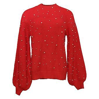 G By Giuliana Women's Sweater Round Beaded Red 715-481