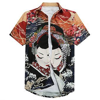 Allthemen Men's 3D-tulostettu paita Geisha Japanilainen tyyli Lyhythihainen Lapel Top