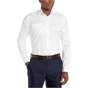 """BUTTONED DOWN Men's Slim Fit Spread Collar Solid Non-Iron Dress Shirt (Pocket), White, 15.5"""" Neck 35"""" Sleeve"""