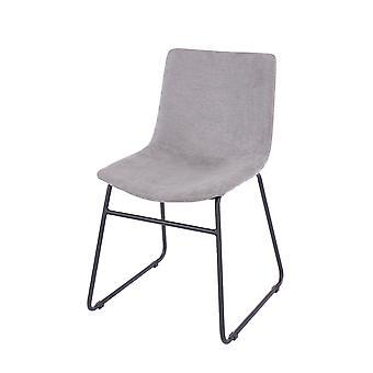 Pala E Grey Fabric Chairs Black Metal Legs (Pair)