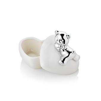 Tischdekoration Bär weiße Farbe in Porzellan, Silber, L10xP9.3xA9.5 cm