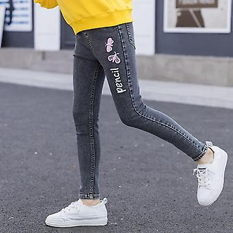 الجينز الشباب مع فراشة طباعة الأميرة نحيل الجينز جينز السراويل 4-14 سنوات
