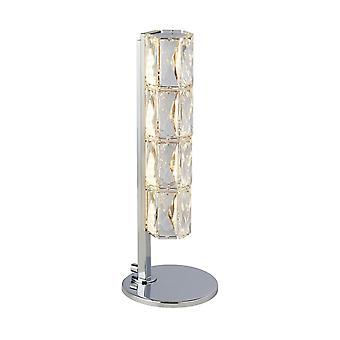 Luz de mesa led, barra de tubo hexagonal, cromo, ribete de cristal claro