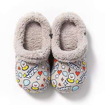 الشتاء الكرتون وجه الاطفال النعال الدافئة أفخم أحذية ملونة فروي