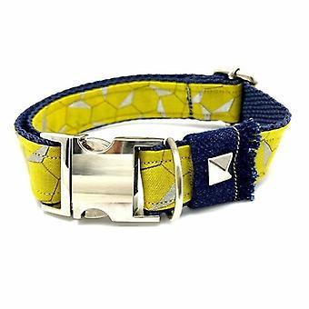 Mustard Honeycomb Frayed Denim Dog Collar