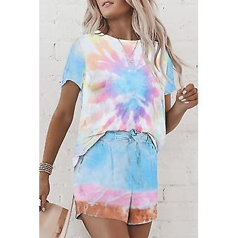 Multicolor Tie Dye Short Lounge Set