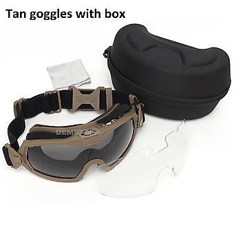 Combat Goggles 2 Lens Anti-fog Military Glasses, Windproof Glasses