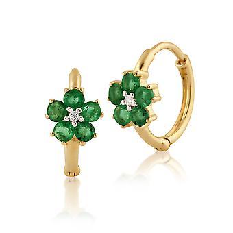 Floral Runde Smaragd & Diamant Creolen in 9ct Gelbgold 135E1207019