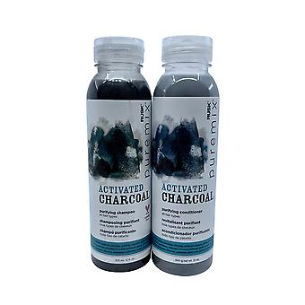 Rusk Pure Mix Activated Charcoal Purifying Shampoo & Conditioner Set 12 OZ Each
