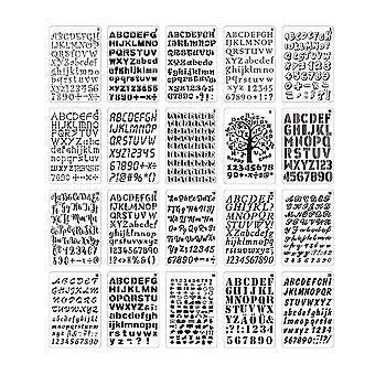 20pcs B5 Alphabet Letter Number Stencils Drawing Painting Templates