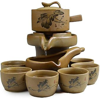 Chinese Gongfu Tea Gift Set Stone-Mill Lotus Design Teapot with 6 Cups