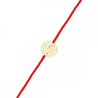 Smiley pink vermeil cord bracelet and red cord 'apos;Peace and Love'
