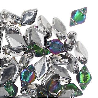 Czech Glass GemDuo, 2-Hole Diamond Shaped Beads 8x5mm, 8 Grams, Backlit Spectrum