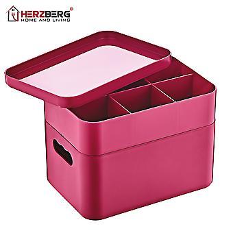Herzberg 2 lager multifunktionell organisatorbox rosa