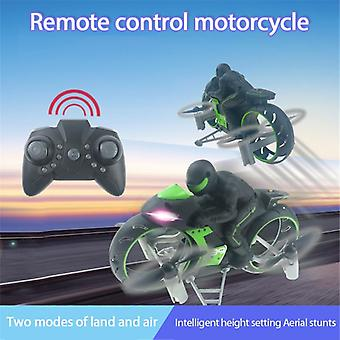 Motorcycle Headless Mode Remote Control Four axis Drone Racing Stunt Toys For Children Gift(Green)