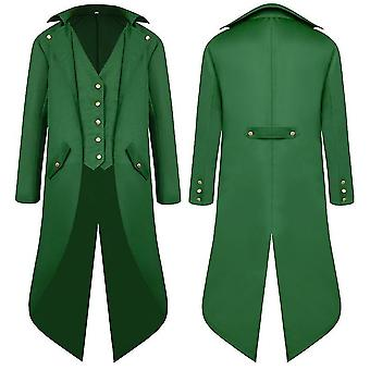 Green m men middle ages ancient swallowtail coat long dress tailcoat cai1111