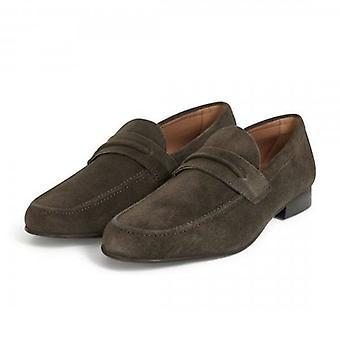 Hudson Hecker Brown Suede Slip On Loafer Shoes