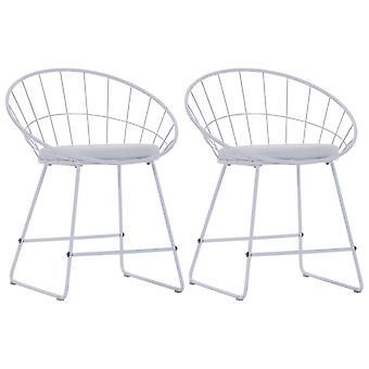 Essstühle mit Kunstledersitzen 2 St Steel White