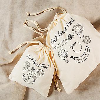 sass &belle bomull frukt og veg poser - sett med 2