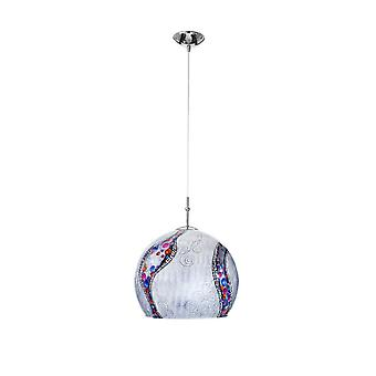 Kolarz LUNA - Designer Glass Dome Anheng Lys Polert Chrome - Kyss Sølv Mønster, 1x E27