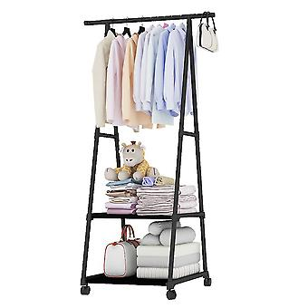 1pc Multifunctional Garment Rack Metal Clothes Coat Shoe Storage Shelf Practical Clothes Drying Hanger Clothes Stand With Wheels (noir)