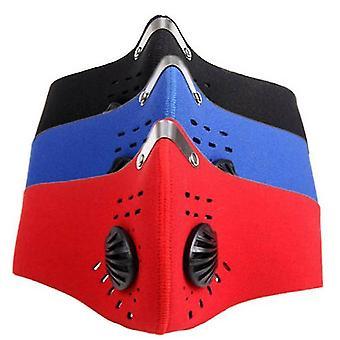 Anti stof en actieve kool filter ademhalingsklep masker fietsen rijden neopreen (rood)
