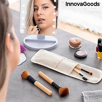 Juego de cepillos de maquillaje de madera con maletine Miset InnovaGoods 5 piezas