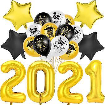 Abschlussfeier Luftballons, Prüfung Bestanden Ballon 2021 Folienballon Set für Schulabschluss Abi